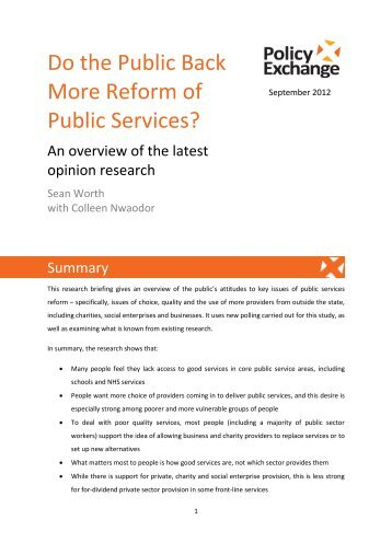 Do the Public Back More Reform of Public Services?