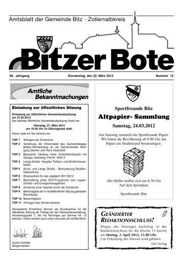 Altpapier- Sammlung - in Bitz