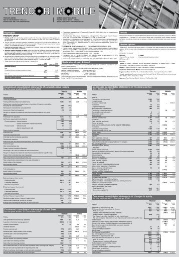 To view the 2010 Dec Reviewed Results PDF file click ... - Trencor.net