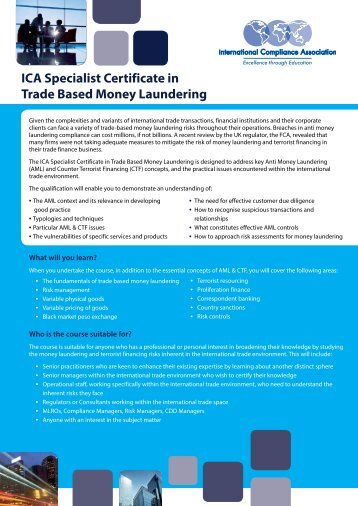 ICA Specialist Certificate in Trade Based Money Laundering
