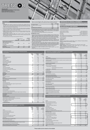 To view the 2011 June Interim Results PDF file click here - Trencor.net