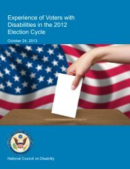 Experience of Voters with Disabilities in the 2012 Election Cycle