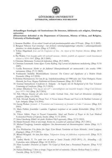 Avhandlingar framlagda vid Institutionen för litteratur, idéhistoria och ...