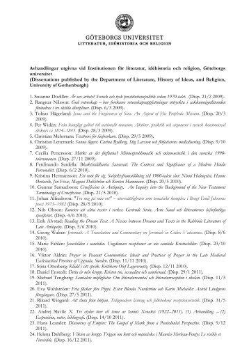 Avhandlingar utgivna vid Institutionen för litteratur, idéhistoria och ...