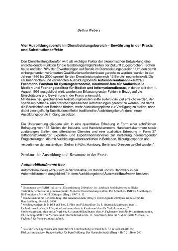 Struktur der Ausbildung und Resonanz in der Praxis - BiBB
