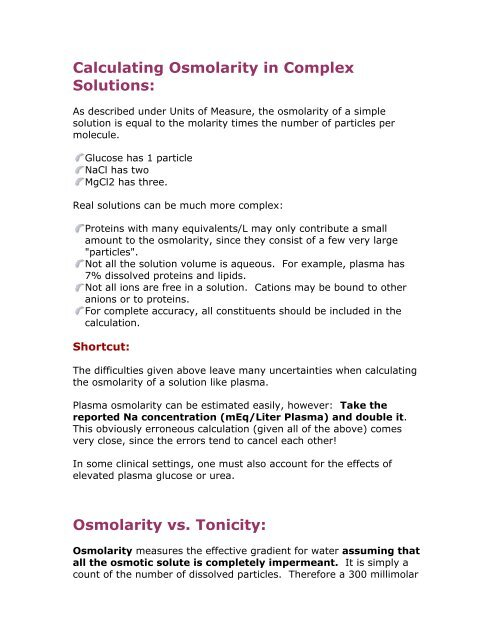 Calculating Osmolarity in Complex Solutions Osmolarity vs
