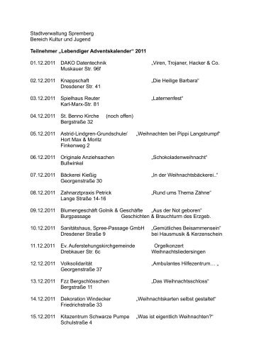 Termine Lebendiger Adventskalender - Spremberginfo.de