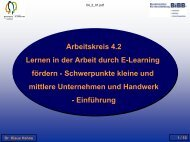 Arbeitskreis 4.2 - Programm 09:00 Einführung Dr. Klaus Hahne - BiBB
