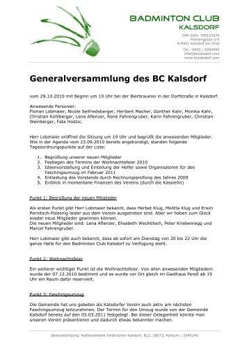 Generalversammlung des BC Kalsdorf