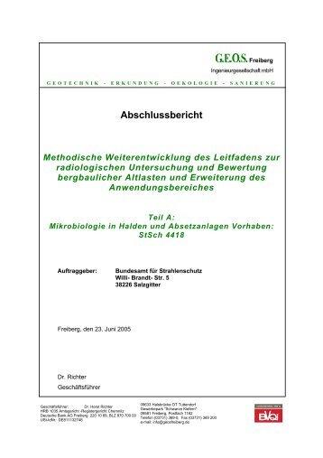 Abschlussbericht Methodische ... - Bundesamt für Strahlenschutz
