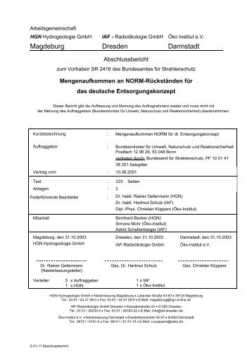 Magdeburg Dresden Darmstadt - Bundesamt für Strahlenschutz
