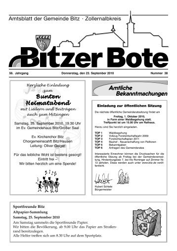 Bitzer Bote 23.September - in Bitz