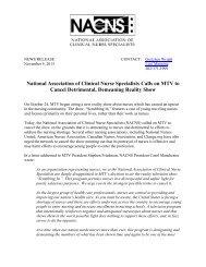 MTV Letter Press Release - National Association of Clinical Nurse ...