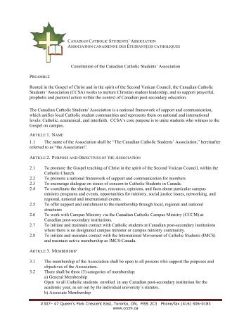 To view the CCSA constitution please click here (PDF) - Canadian ...
