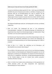 Erklärung zum Corporate Governance Kodex gemäß § 161 AktG ...