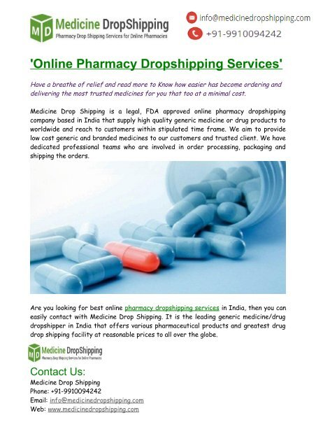 Online Pharmacy Dropshipping Services India