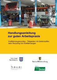 Handlungsanleitung zur guten Arbeitspraxis: Kraftfahrzeugrecycling ...