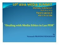 """""""Dealing with Media Ethics in Lao PDR"""""""