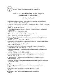 TEMATICKÉ OKRUHY K BAKALÁŘSKÉ ZKOUŠCE ZDRAVOTNÍ PSYCHOLOGIE