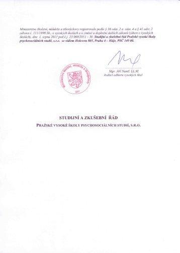 studijní a zkušební řád - Pražská vysoká škola psychosociálních studií