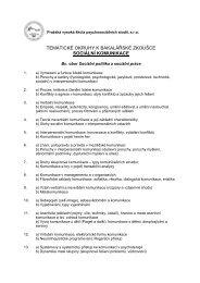 TEMATICKÉ OKRUHY K BAKALÁŘSKÉ ZKOUŠCE SOCIÁLNÍ KOMUNIKACE
