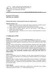 Program LLP Erasmus Informace pro studenty I Studijní pobyt (SMS)