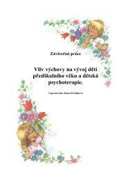 předškolního věku a dětská psychoterapie