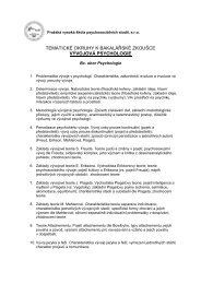 TEMATICKÉ OKRUHY K BAKALÁŘSKÉ ZKOUŠCE VÝVOJOVÁ PSYCHOLOGIE