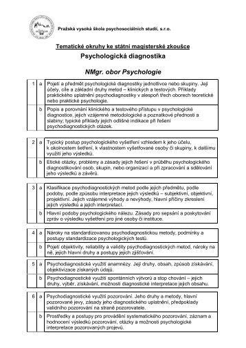 Psychologická diagnostika NMgr obor Psychologie