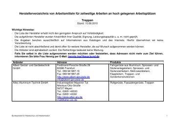 Treppen - Bundesanstalt für Arbeitsschutz und Arbeitsmedizin