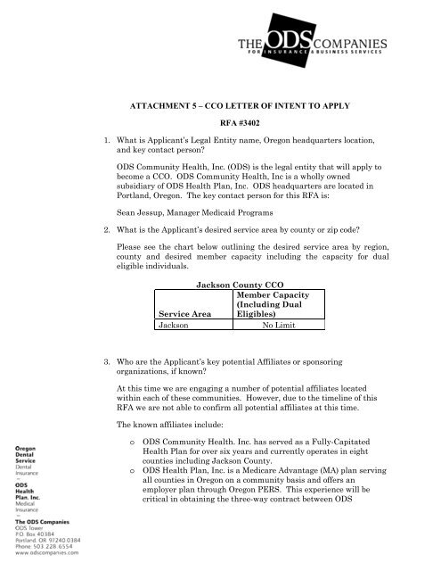 Draft LOI Jackson - Coordinated Care Organizations - State