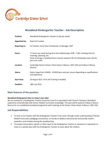 job description preschool/pre-kindergarten teacher - The Lutheran ...
