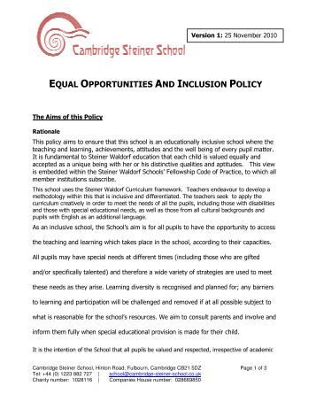 equal opportunity school The section is charged with enforcing the equal educational opportunities act of 1974 (eeoa) section 1703(f) of the eeoa requires state educational agencies (seas) and school districts to take action to overcome language barriers that impede english language learner (ell) students from participating equally in state and district educational .