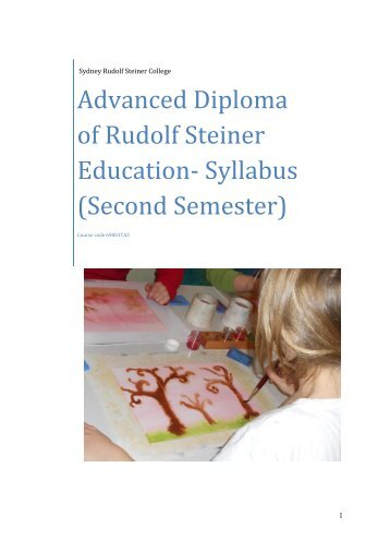 Advanced Diploma of Rudolf Steiner Education- Syllabus (Second Semester)
