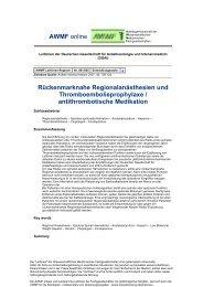 001-005 Rückenmarknahe Regionalanästhesien und - AWMF