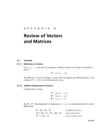 Review of Vectors and Matrices