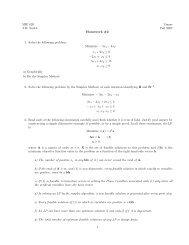 MIE 620 Umass J.M. Smith Fall 2007 Homework #2 1. Solve the ...
