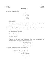 MIE 620 Umass J.M. Smith Fall 2007 Homework #3 1. Solve the ...