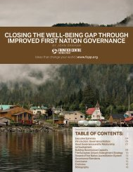 CLOSING THE WELL-BEING GAP THROUGH IMPROVED FIRST NATION GOVERNANCE