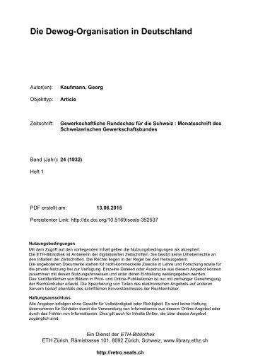 Kaufmann 1932 - Die Dewog-Organisation in Deutschland