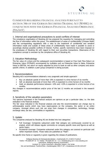 Steubing AG_Comments regarding financial analyses