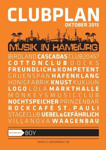 Clubplan Hamburg - Oktober 2015