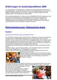 Erfahrungen im Auslandspraktikum 2009