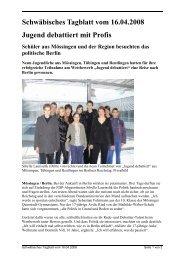 Schwäbisches Tagblatt vom 16.04.2008 Jugend debattiert mit Profis