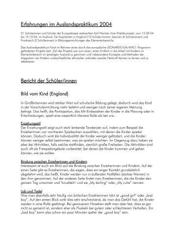 Erfahrungen im Auslandspraktikum 2004 Bericht der Schüler/innen