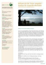 Heilsam mit der Trauer umgehen - Seminar für trauernde Menschen