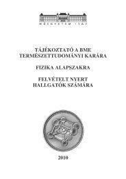 Kari tájékoztató, tanterv - Budapesti Műszaki és ...