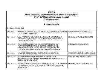 EIXO 4 Meio ambiente, sustentabilidade e práticas ... - USC