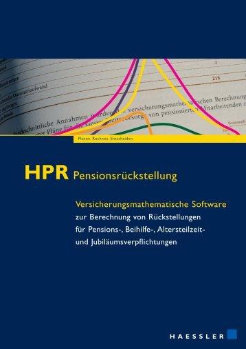 HPR Pensionsrückstellung - Bewertung Pensionsrückstellung