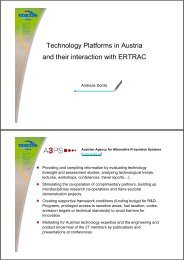 Technology Platforms in Austria and their interaction with ERTRAC